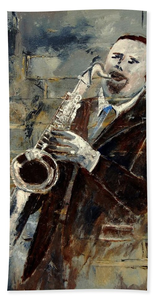 Music Hand Towel featuring the painting Saxplayer 570120 by Pol Ledent