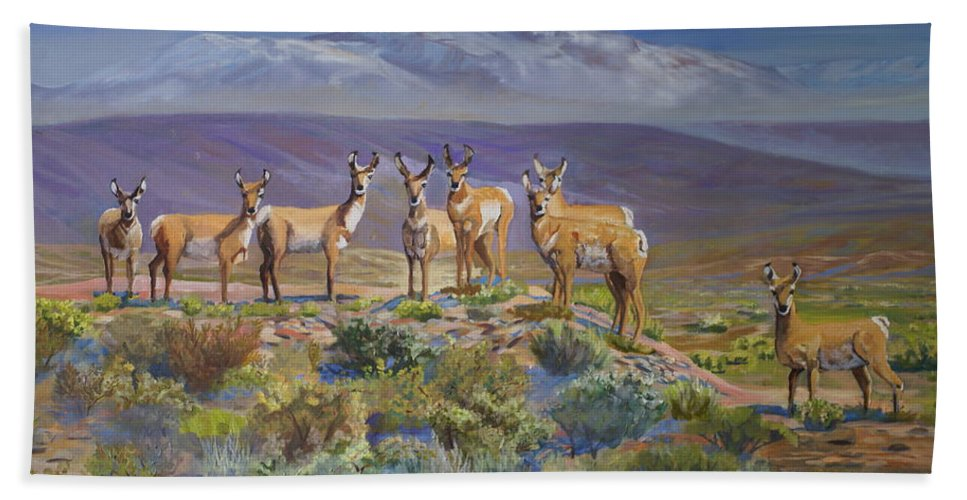 Antelope Bath Sheet featuring the painting Say Cheese Antelope by Heather Coen