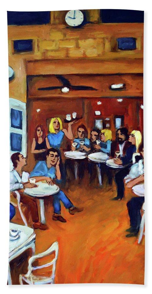 Sidewalk Cafe Bath Towel featuring the painting Sazio by Valerie Vescovi