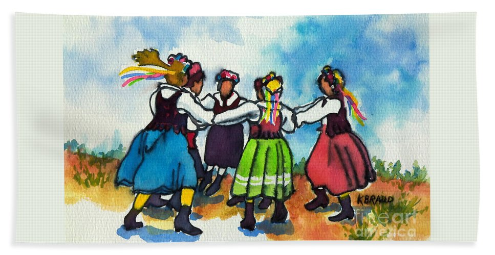Paintings Hand Towel featuring the painting Scandinavian Dancers by Kathy Braud