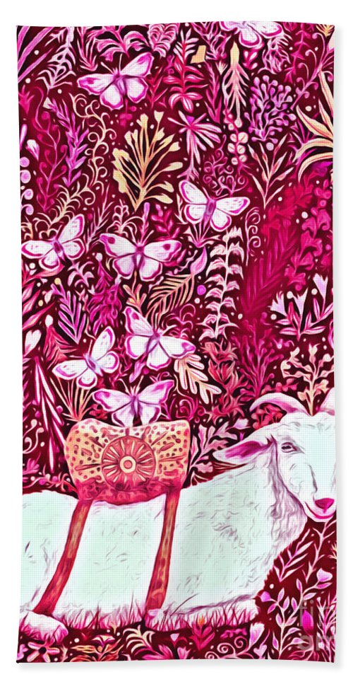 Lise Winne Bath Sheet featuring the digital art Scapegoat Healing In Fuchsia by Lise Winne