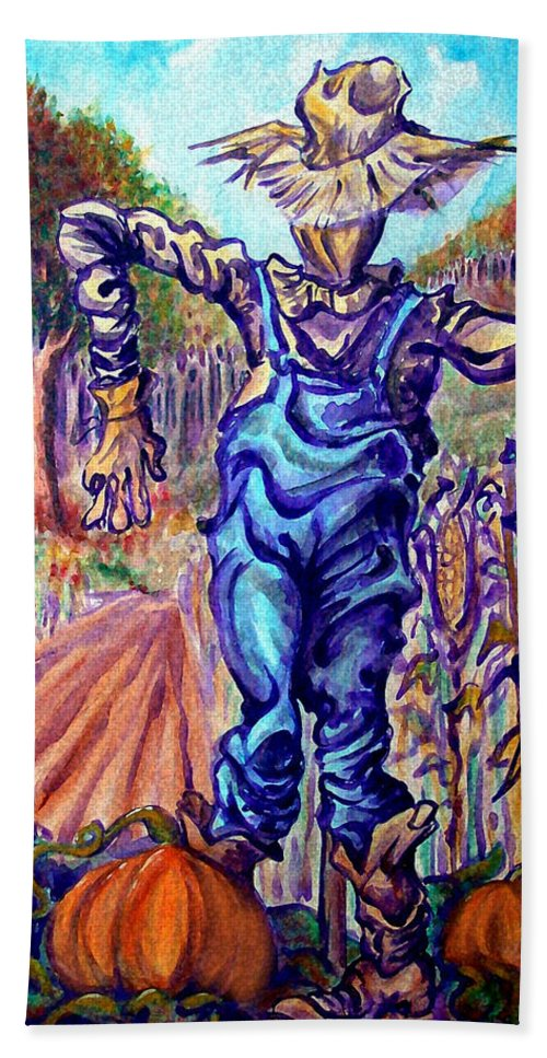Scarecrow Hand Towel featuring the painting Scarecrow by Kevin Middleton