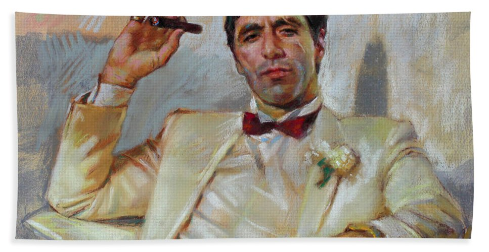 Scarface Bath Sheet featuring the pastel Scarface by Ylli Haruni