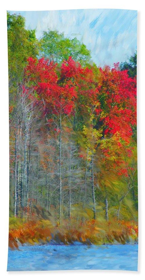 Landscape Bath Sheet featuring the digital art Scarlet Autumn Burst by David Lane