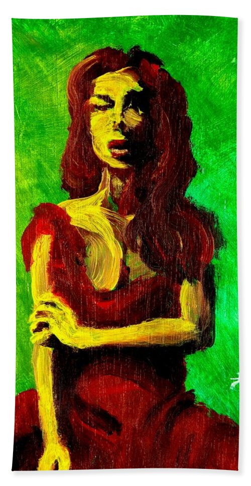 Expressionist Bath Towel featuring the painting Scarlet by Jason Reinhardt