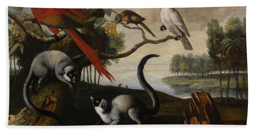 Circle Of Tobias Stranover Lemurs Bath Sheet featuring the painting Scarlet Macaw by MotionAge Designs