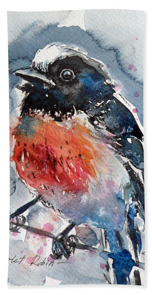 Scarlet Bath Sheet featuring the painting Scarlet Robin by Kovacs Anna Brigitta