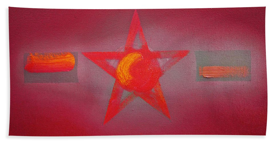 Usaaf Hand Towel featuring the painting Scarlet Vermillion by Charles Stuart