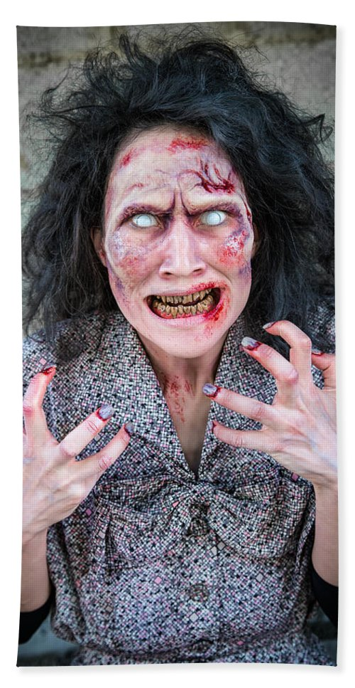 Zombie Hand Towel featuring the photograph Scary Angry Zombie Woman by Matthias Hauser