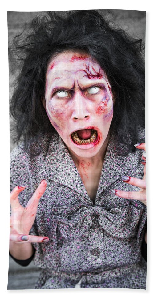 Zombie Hand Towel featuring the photograph Scary Screaming Zombie Woman by Matthias Hauser