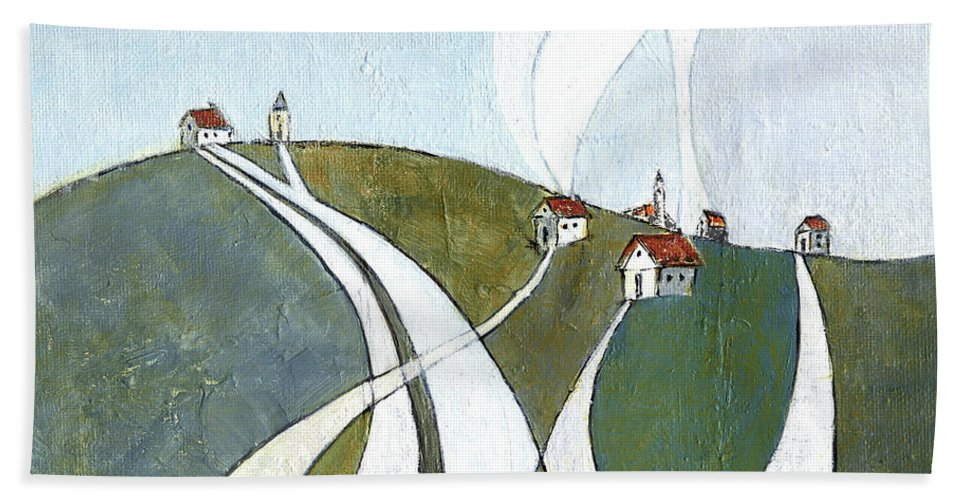 Painting Hand Towel featuring the painting Scattered Houses by Aniko Hencz