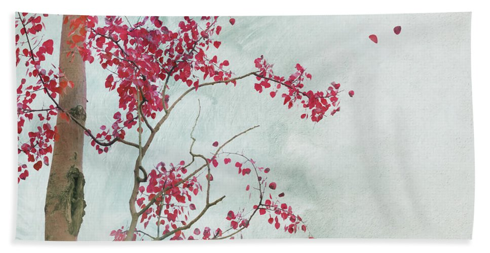 Leaves Hand Towel featuring the photograph Scattered To The Four Winds by Priska Wettstein