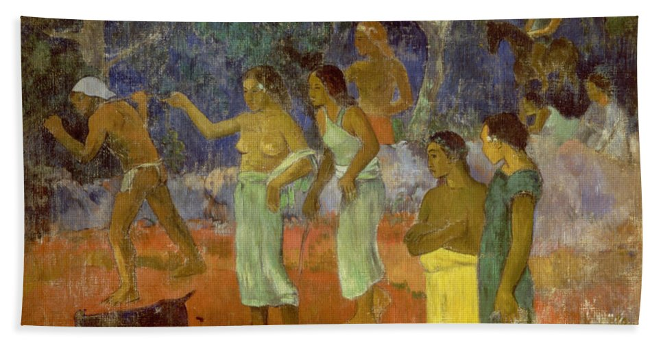 Scene From Tahitian Life Hand Towel featuring the painting Scene From Tahitian Life by Paul Gauguin