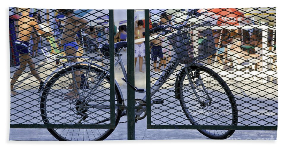 Bicycle Hand Towel featuring the photograph Scene Through The Gate by Madeline Ellis