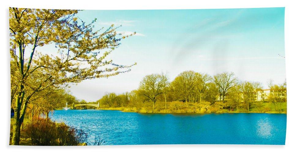 Scenic Bath Sheet featuring the photograph Scenic Branch Brook Park by Srinivasan Venkatarajan