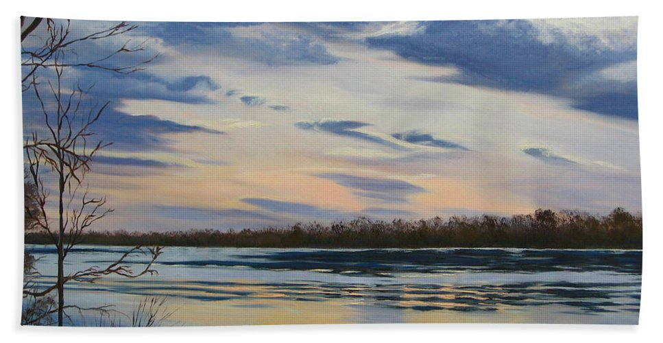 Clouds Bath Towel featuring the painting Scenic Overlook - Delaware River by Lea Novak