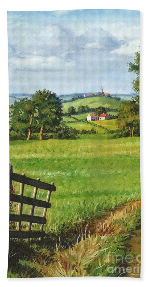 Print Hand Towel featuring the painting Scenic View by Margaryta Yermolayeva