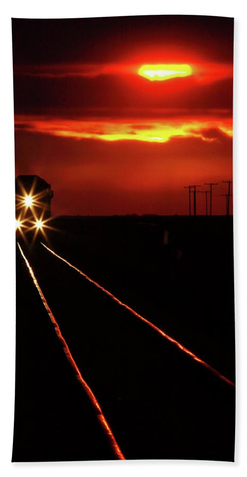 Sunset Hand Towel featuring the digital art Scenic View Of An Approaching Trrain Near Sunset by Mark Duffy