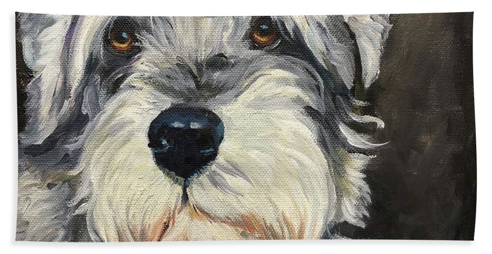 Schnauzer Bath Sheet featuring the painting Schnauzer by Michelle Lake