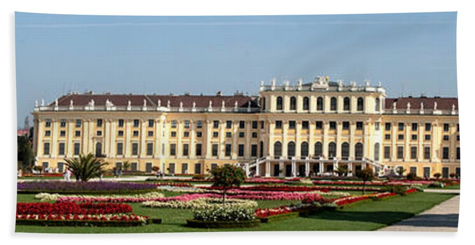 Schonbrunn Palace Hapsburg Vienna Austria Castle Garden Hand Towel featuring the photograph Schonbrunn Palace And Gardens by Thomas Marchessault