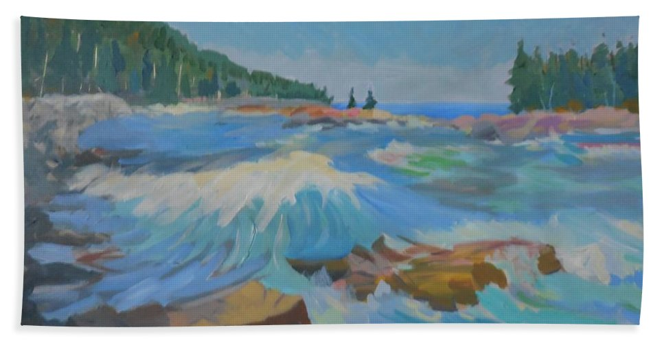 Landscape Bath Sheet featuring the painting Schoodic Inlet by Francine Frank
