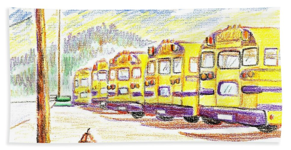 School Bussiness Bath Towel featuring the mixed media School Bussiness by Kip DeVore