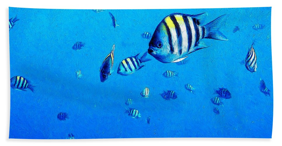 Fish Hand Towel featuring the painting School by Dominic Piperata