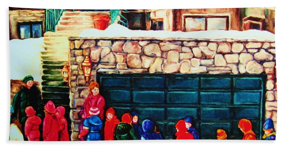 Montreal Streetscenes Hand Towel featuring the painting Schools Out by Carole Spandau