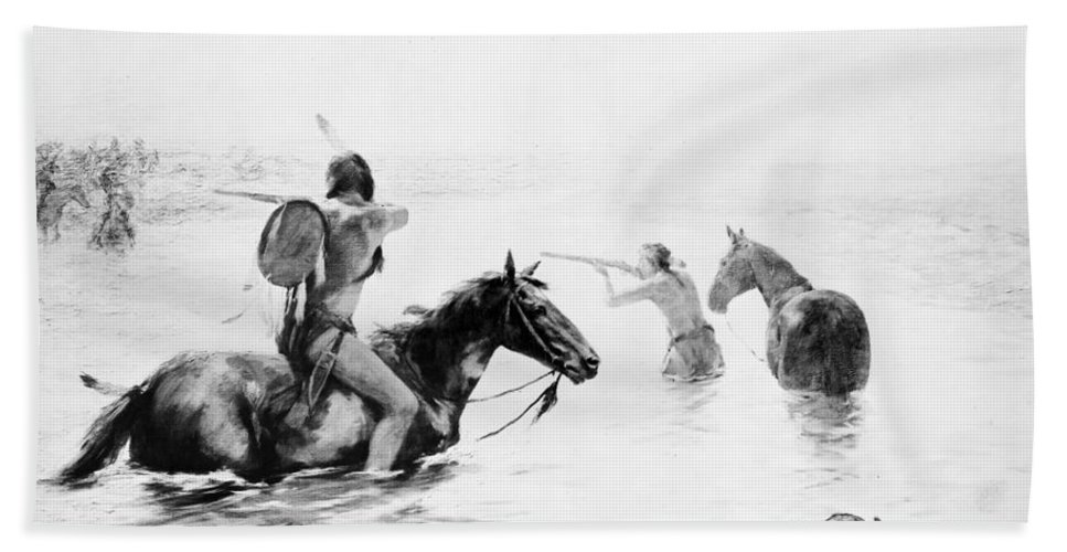 19th Century Bath Sheet featuring the photograph Schreyvogel: Stand Off by Granger