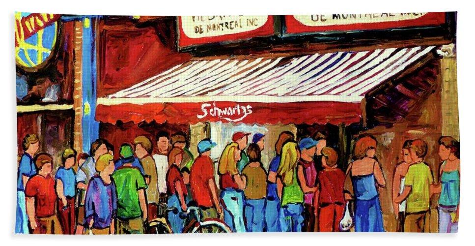 Schwartz Deli Bath Sheet featuring the painting Schwartzs Deli Lineup by Carole Spandau