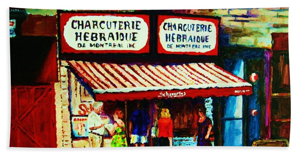 Schwartz Deli Bath Towel featuring the painting Schwartzs Famous Smoked Meat by Carole Spandau