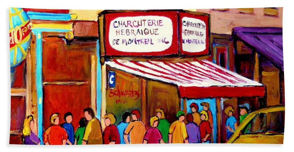 Schwartzs Deli Bath Sheet featuring the painting Schwartzs Hebrew Deli Montreal Streetscene by Carole Spandau