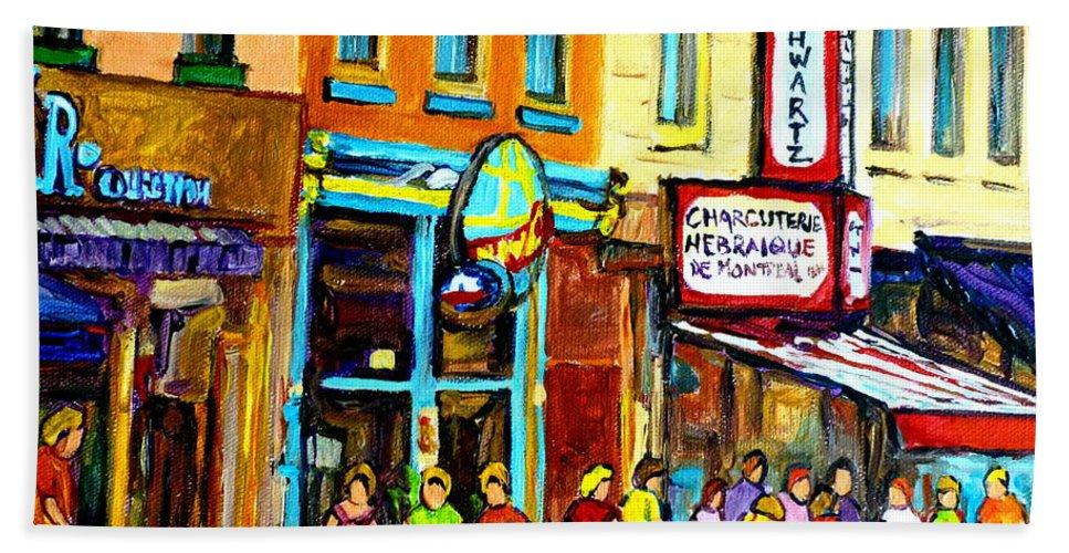 Schwartz's Hebrew Deli On St. Laurent In Montreal Hand Towel featuring the painting Schwartz's Hebrew Deli On St. Laurent In Montreal by Carole Spandau