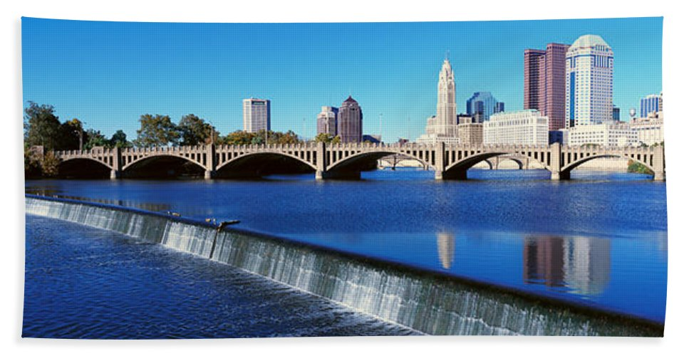 Photography Bath Sheet featuring the photograph Scioto River With Waterfall by Panoramic Images