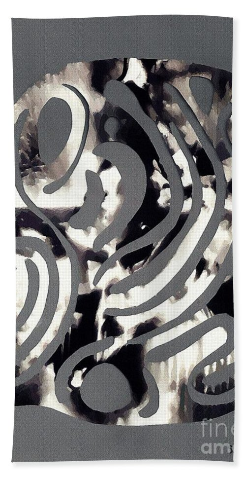 Curve Hand Towel featuring the mixed media Scissor-cut Abstraction by Sarah Loft
