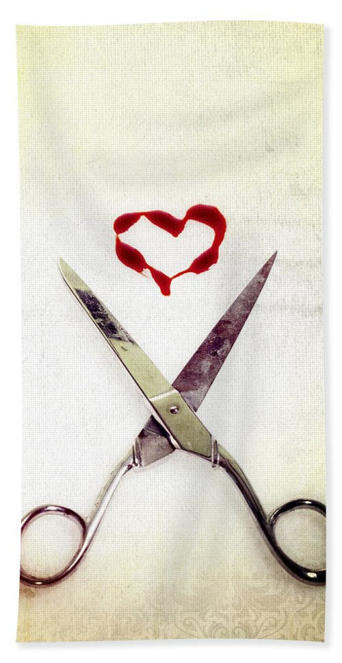 Scissors Hand Towel featuring the photograph Scissors And Heart by Joana Kruse