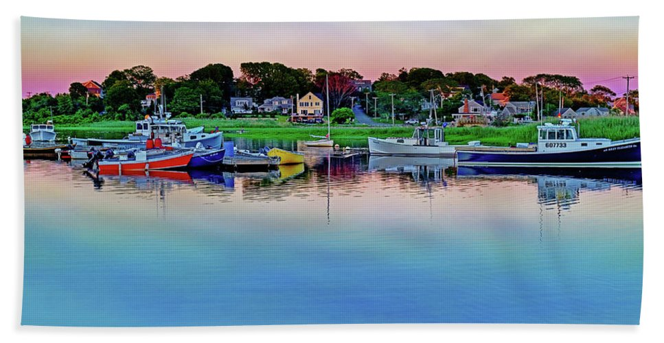 Scituate Bath Sheet featuring the photograph Scituate Harbor At Sunset by Jeremie Doucette