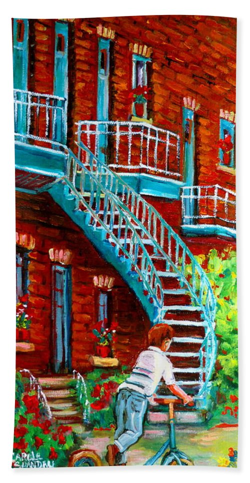 Debullion Street Hand Towel featuring the painting Scooter Ride Along Coloniale Street by Carole Spandau