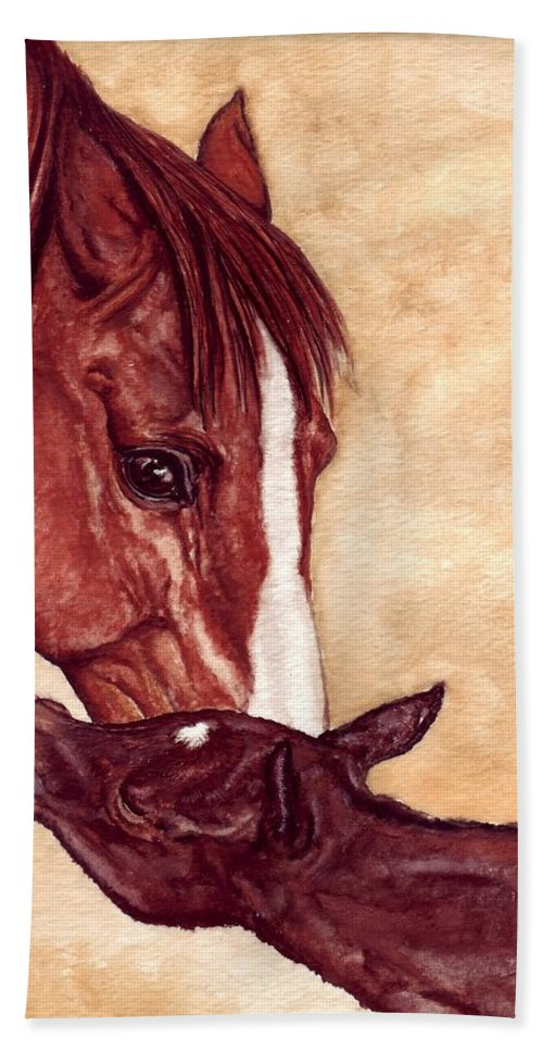 Horse Hand Towel featuring the painting Scootin by Kristen Wesch