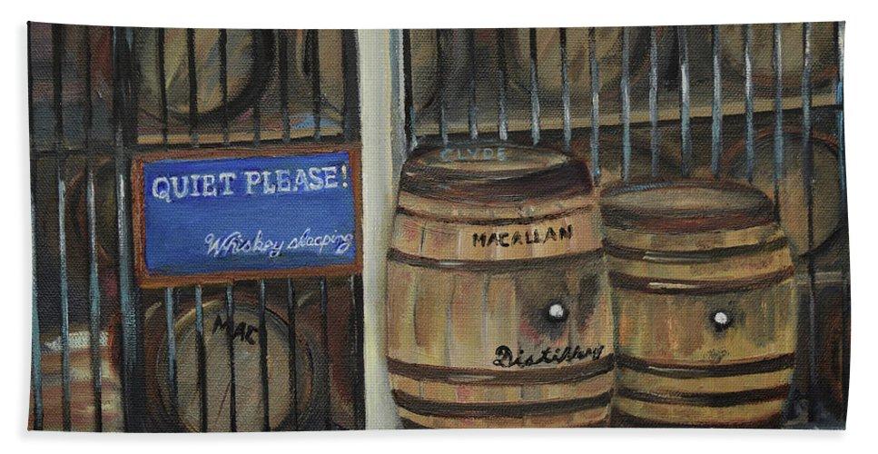 Scotch Whiskey Bath Sheet featuring the painting Scotch Whiskey - Barrels - Macallan by Jan Dappen