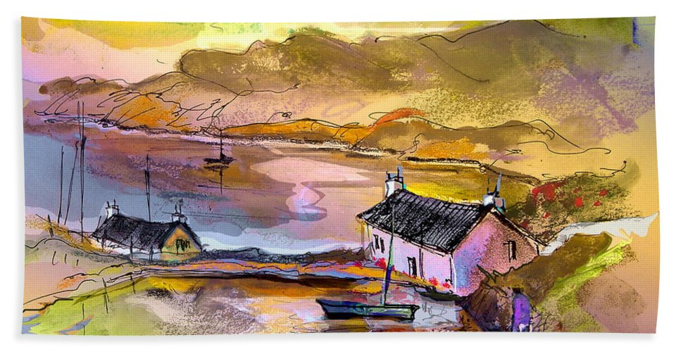 Scotland Paintings Bath Sheet featuring the painting Scotland 11 by Miki De Goodaboom