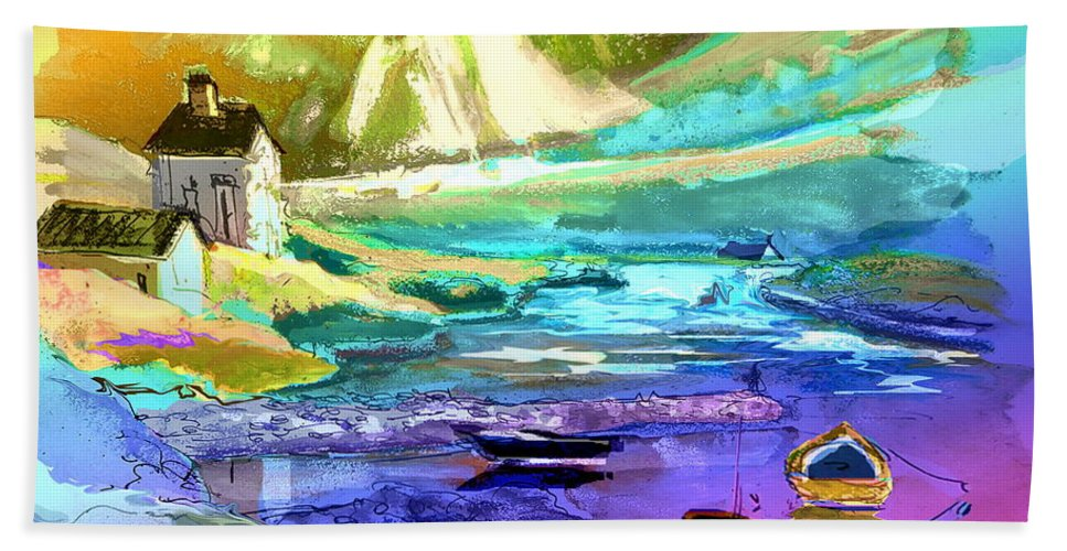 Scotland Paintings Bath Sheet featuring the painting Scotland 15 by Miki De Goodaboom