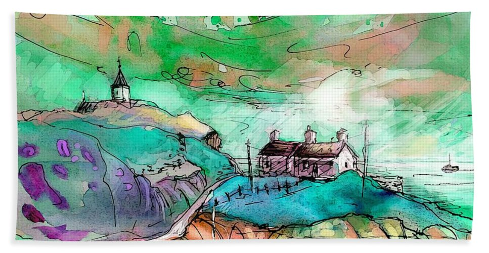 Scotland Bath Sheet featuring the painting Scotland 25 by Miki De Goodaboom