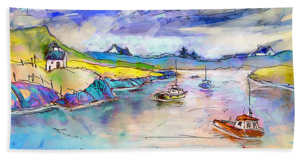 Scotland Hand Towel featuring the painting Scotland 26 by Miki De Goodaboom