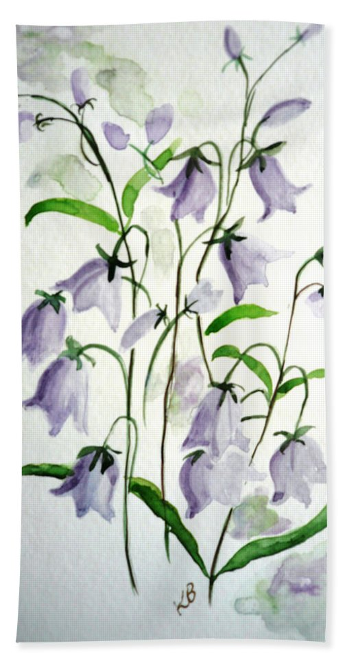 Blue Bells Hare Bells Purple Flower Flora Hand Towel featuring the painting Scottish Blue Bells by Karin Dawn Kelshall- Best