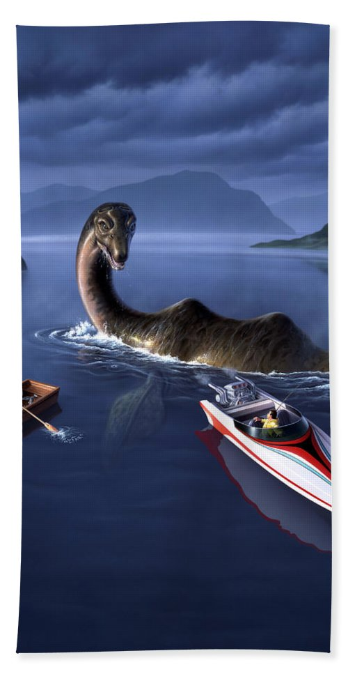 Loch Ness Monster Hand Towel featuring the painting Scottish Cuisine by Jerry LoFaro