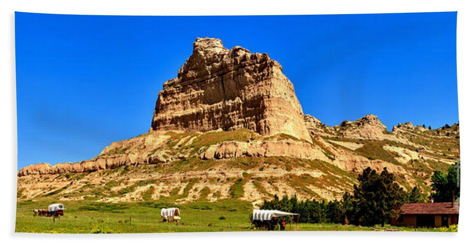 Scotts Bluff Hand Towel featuring the photograph Scotts Bluff National Monument Panorama by Adam Jewell