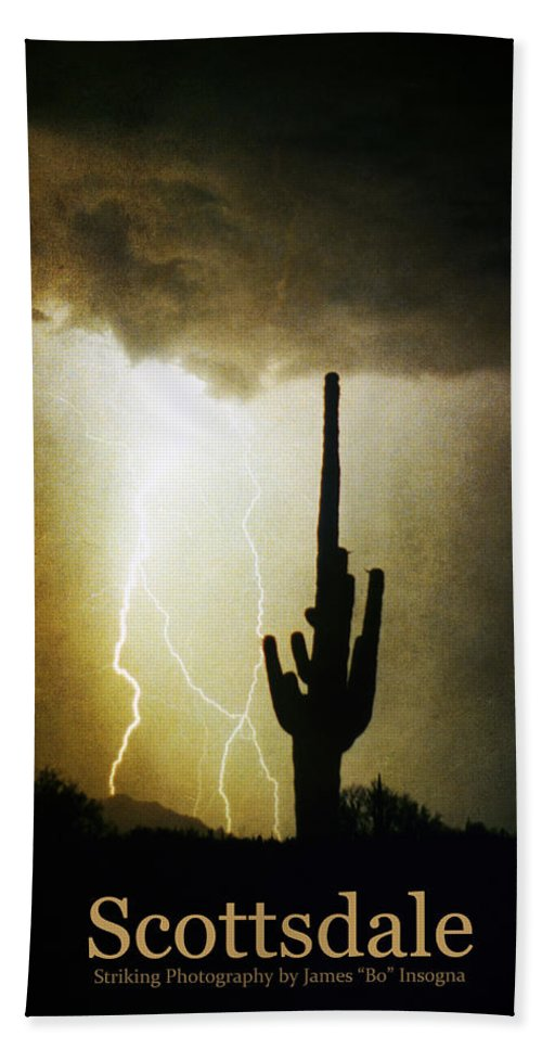 Scottsdale Hand Towel featuring the photograph Scottsdale Arizona Fine Art Lightning Photography Poster by James BO Insogna
