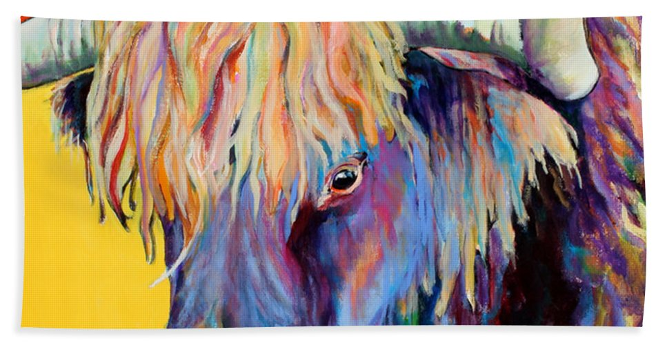 Farm Animal Hand Towel featuring the painting Scotty by Pat Saunders-White
