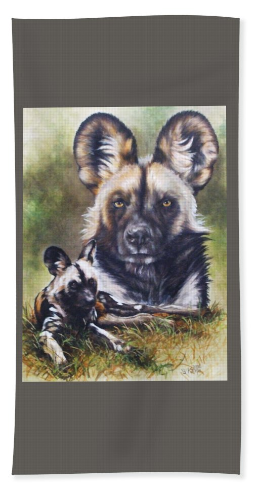 Wild Dogs Hand Towel featuring the mixed media Scoundrel by Barbara Keith